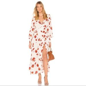Free People So Sweetly Floral Smocked Wrap Dress S
